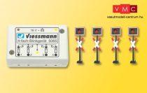 Viessmann 5800 Fénysorompó, 4 db, villogtató vezérlőmodullal