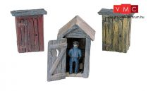 Woodland Scenics D214 3 Outhouses & Man